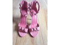 Kardashian Rihanna pompom shoes heels sandals pink rose suede