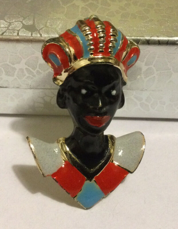 "Vintage Blackamoore brooch, African Prince, Enamel, Gold Tone. 1.75""x 0.75"""
