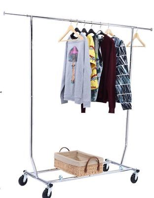 250lbs Heavy Duty Salesman Clothing Rack Garment Rack - Rolling Collapsible
