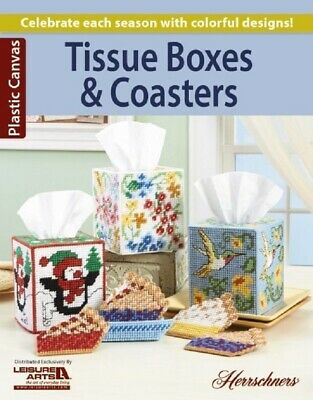 Plastic Canvas Pattern Book TISSUE BOXES & COASTERS ~ Christmas, Pies, Fall ++ ()