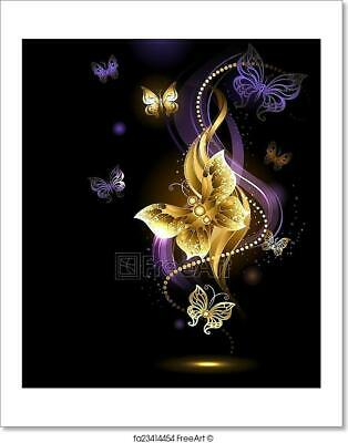 Magic Gold Butterflies Art Print Home Decor Wall Art Poster - H](Magic Decor)