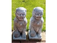 Pair of Chinese foo dog garden ornaments
