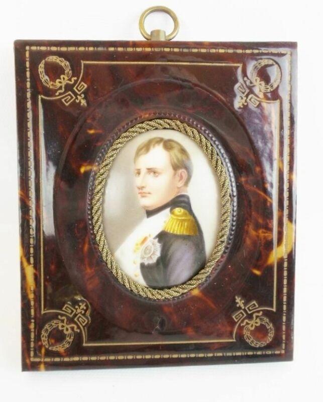 19C French Faux Tortoise Shell Frame  wNapoleon Porcelain Miniature Portrait