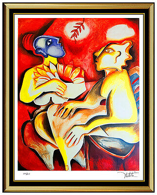 Alexandra Nechita Large Original Lithograph Signed Cubism Portrait Picasso Art