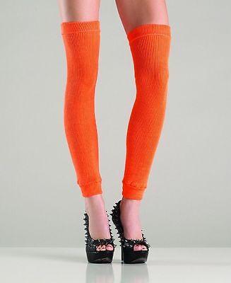 Orange Leg Warmers (BW-711 Sexy Gogo Dancer Raver Outfit Rave Clubwear Orange Thigh High Leg)