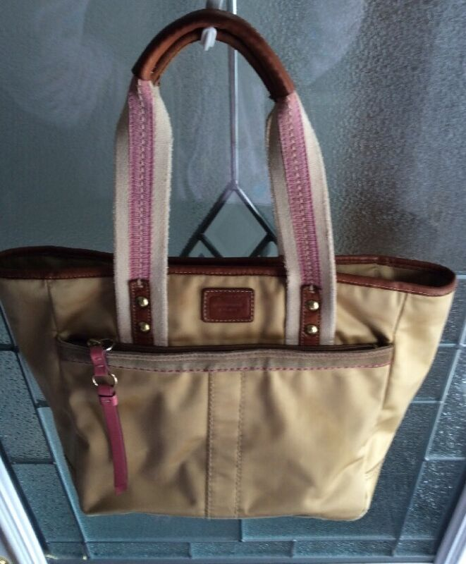 COACH Hamptons Leatherware Gold Nylon Leather Trim Tote Shoulder bag K-130 Large