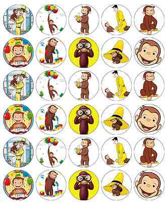 30 x Curious George Cupcake Toppers Edible Wafer Paper Fairy Cake Toppers (Curious George Cupcakes)