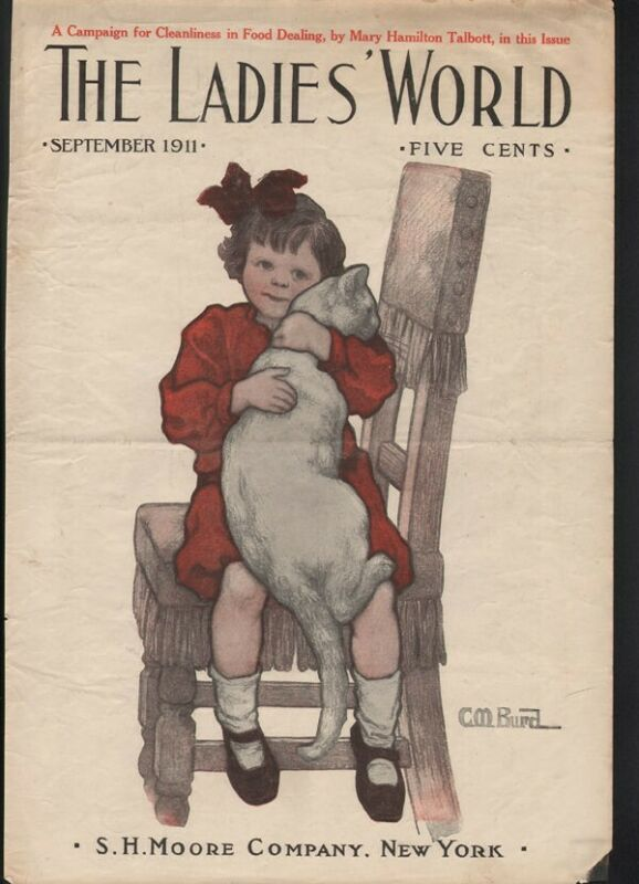 1911 C.M BURD CHILD GIRL CAT ANIMAL FELINE PET DRESS LOVE COVER ART20592