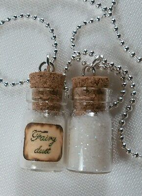 GLOW IN THE DARK tiny glass vial fairy dust small charm pendant necklace 1pc
