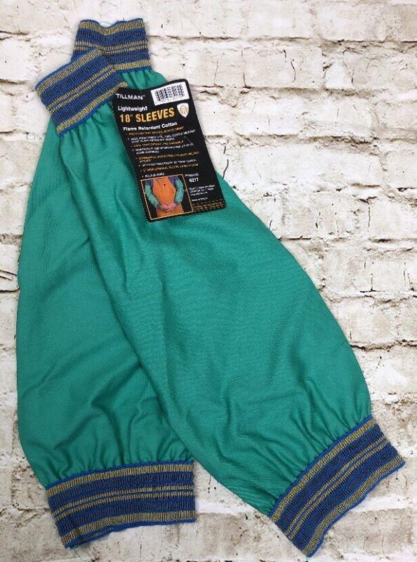 """NEW Tillman Welding Sleeves 6217 Green Flame Retardant 18"""" Cotton Lightweight"""