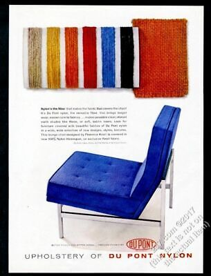 1958 Florence Knoll blue chair photo Du Pont fabric vintage print ad