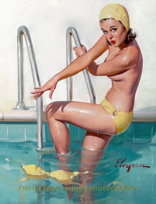 Nude Woman Leaving Swimming Pool 85X11-7228