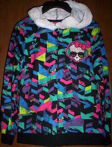 MONSTER High Geometric HOODIE NeW Girl's 6/6x Faux Fur-Line Hooded Jacket NWT
