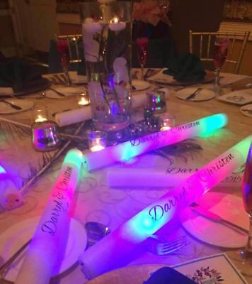 40 Personalized LED Foam Sticks Light-Up Customized Batons DJ Custom Glow Wands (Personalized Glow Sticks)