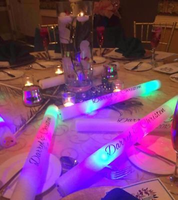 20 Personalized LED Foam Sticks Light-Up Customized Batons DJ Custom Glow Wands (Personalized Glow Sticks)