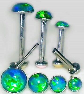 20g 18g 16g SIM DK GREEN OPAL PUSH PIN Labret Lip Forward Helix Ear Stud Earring