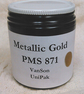 Vanson Pms 871 Metallic Gold Unipak Oil Based Ink For Printing Press 3.5oz.