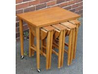 retro vintage teak nest of five tables 60`s 70`s