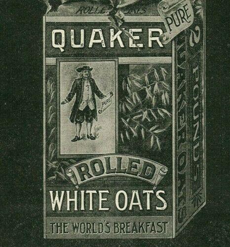1896 QUAKER OATS Breakfast Cereal Puritan Man Tin Can Box Antique PAPER AD 2227