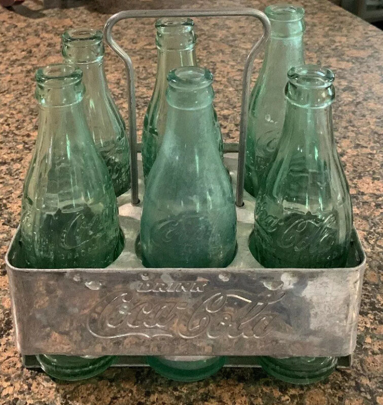 Vintage Coca Cola Coke Aluminum Metal 6-Pack Bottle Holder Drink Carrier Caddy