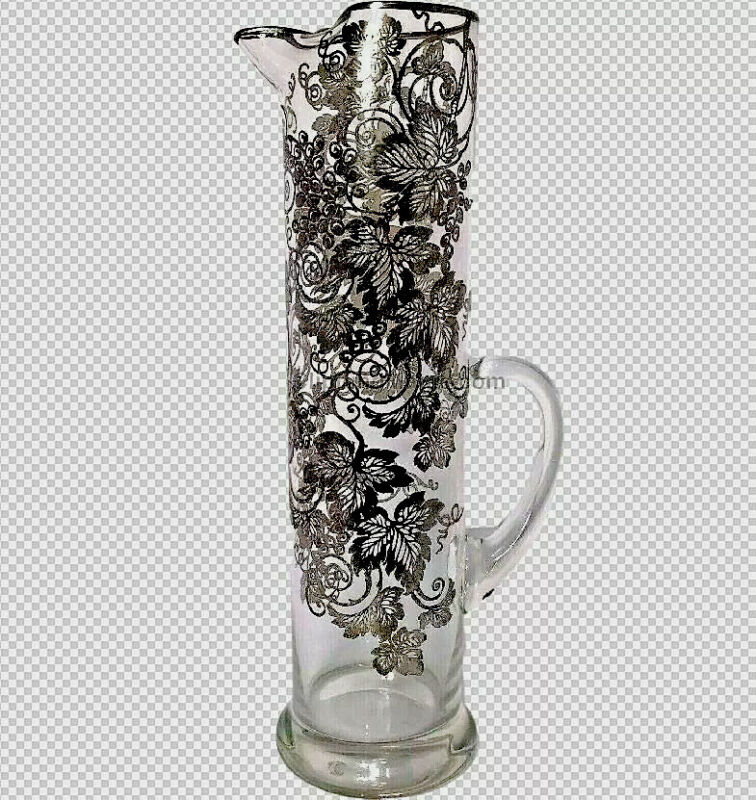 """MARTINI PITCHER STERLING SILVER OVERLAY LARGE 13""""H VINTAGE GRAPES LEAVES GLASS"""