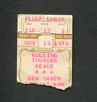 1975 Bob Dylan Rolling Thunder Revue Concert Ticket Stub New Haven Ct Desire