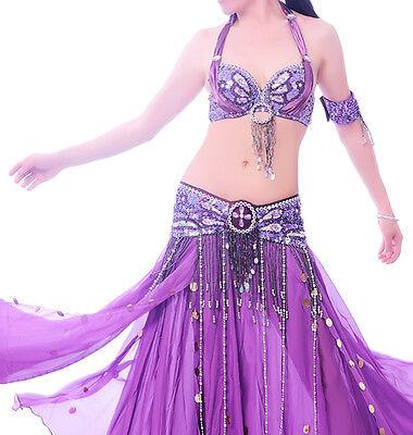 C91806 Bauchtanz Kostüm 2 Teile BH und Gürtel Belly Dance Royal (Schwarz Und Gelb Tanz Kostüm)