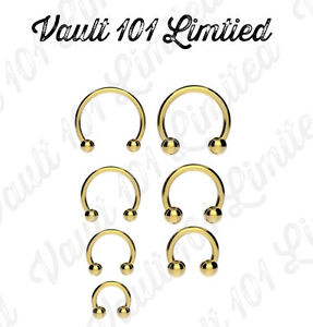 Anodized-GOLD-Horseshoe-Bar-Lip-Nose-Septum-Ear-Ring-Various-Sizes-available