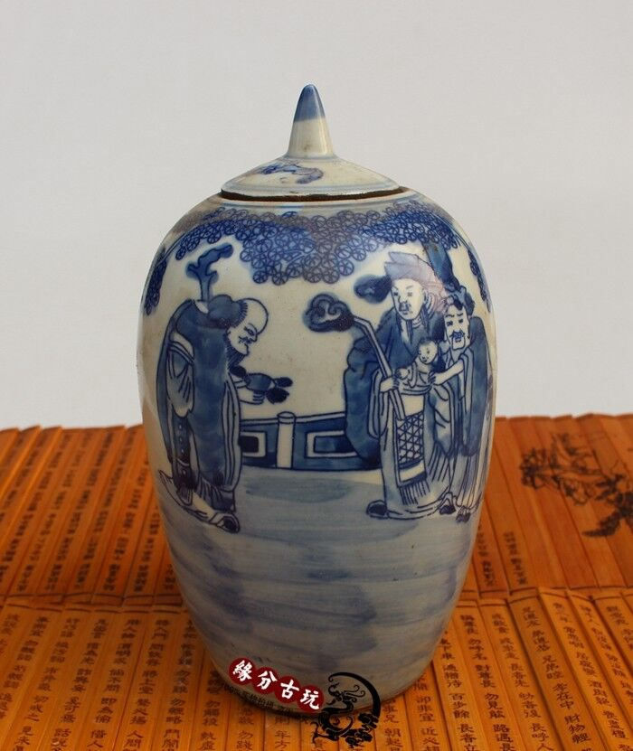 China old porcelain painting Blue and white pot