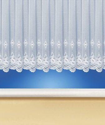 Gardinenstore / Blumenfenster-Store, Jacquard Vorhang Weiß, Spitze & Kräuselband