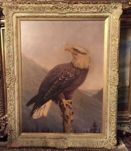 Signed eagle oil painting