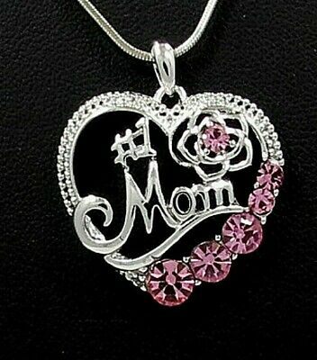 NWT MOM MOTHER HEART CHARM PENDANT PINK CRYSTAL SILVER NECKLACE GRANDMA DAUGHTER Mom Pink Heart