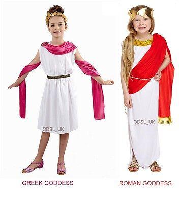 Girls Roman Outfits (GIRLS ROMAN GREEK GODDESS FANCY DRESS COSTUME KIDS WORLD BOOK DAY TOGA)