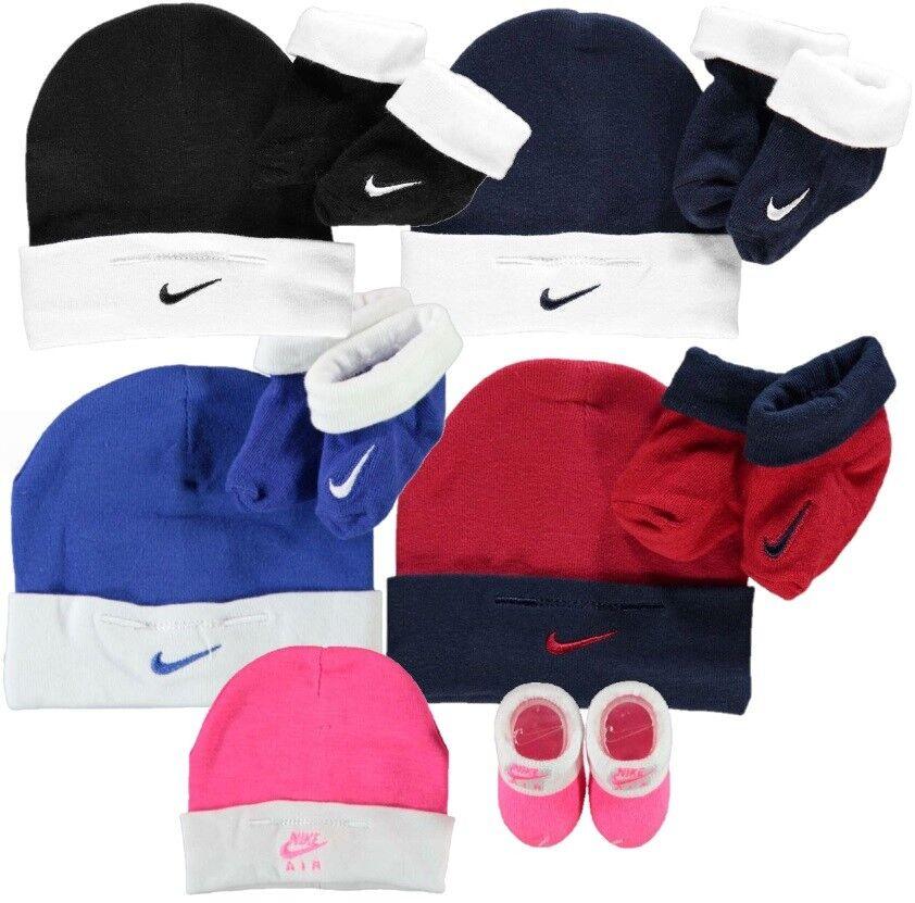 ✅ NIKE Baby Mütze & Socken 56-68 Mädchen Jungen Set Blau Pink Winter Booties Neu