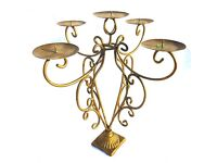 VINTAGE CANDELABRA, WROUGHT IRON WITH A GILDED FINISH