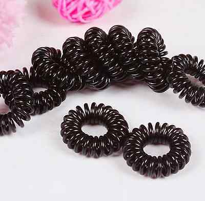 10x Girl Elastic Rubber Hair Ties Band Rope Ponytail Holder Black