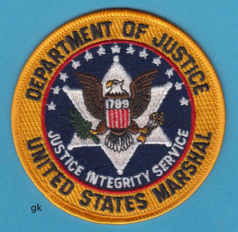 "US MARSHAL DEPARTMENT OF JUSTICE POLICE SHOULDER PATCH (Color).  (3 1/2"")"