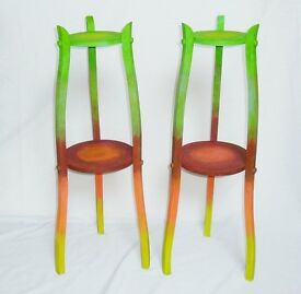 Pair Vintage Plant Stands Hand Painted Retro 30s 40s Upcycled Shop Display