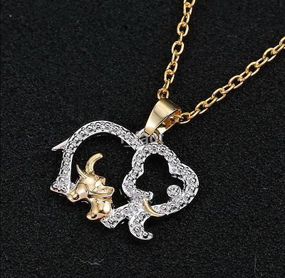 Popular Women Animal Elephant Long Chain Crystal Silver Plated Pendant Necklace