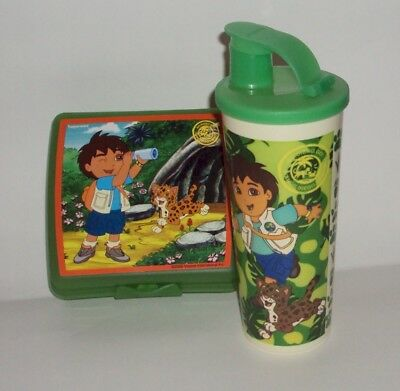 Tupperware Go Diego Kids Lunch Box Set Sandwich Keeper and Tumbler Flip Top
