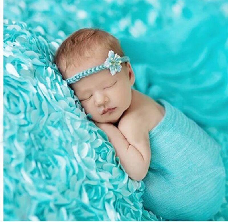 Beautiful 3D Aqua Rosette Baby NB Blanket Rug Photography Prop