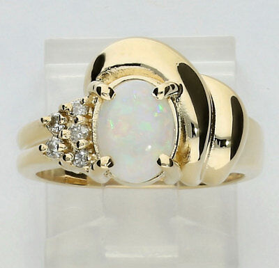 Diamond opal ring 14K yellow gold oval round brilliant .8C 6.2G sz6.5 birthstone