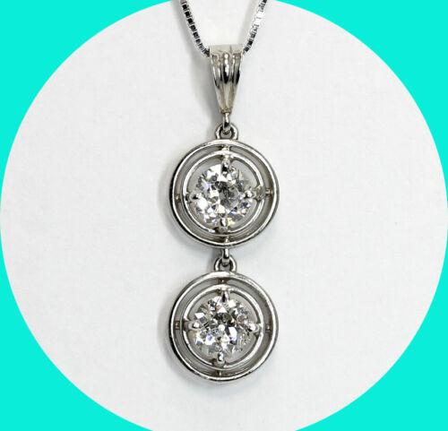 Antique platinum .65CT twin diamond pendant mine cut necklace 14K chain
