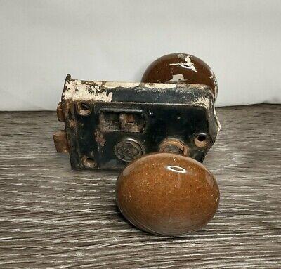 Vintage Antique Old Door Lock with Black Porcelain Door Knobs Y&T Brown Lock