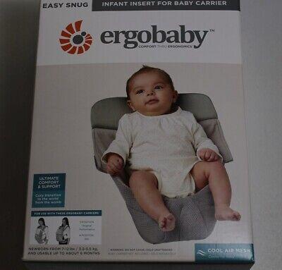 Ergobaby Easy Snug Mesh Infant Carrier Insert w/ Fanned Back Panel Grey Free S/H Baby Carrier Panel
