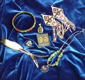 Native American Sterling/Green Amber Pendant