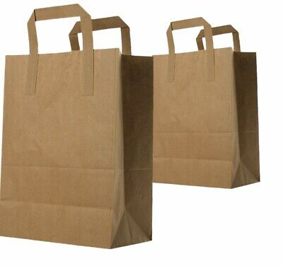 225X Large Brown SOS Paper Carrier Bags with Handles for Food Takeaways