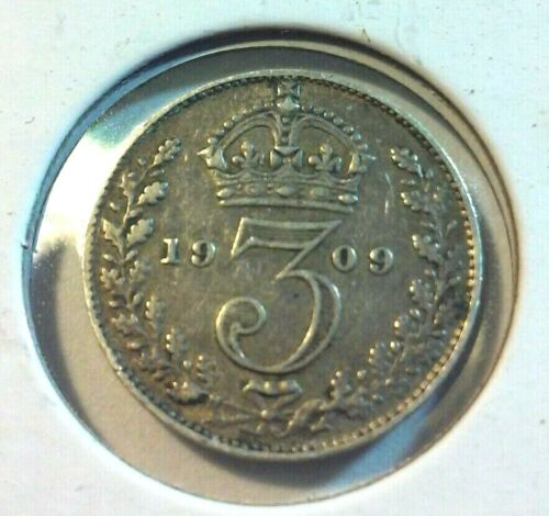 1909 Great Britain  3 Pence Coin -  .925 Silver - KM#797.2  (#IN5462)