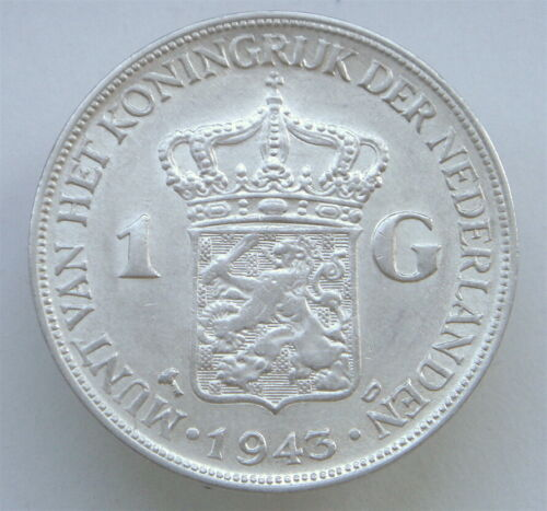 Netherlands East Indies, 1 Gulden, 1943, D, KM330, Silver 720, AU, Wilhelmina