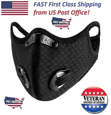 Face Mask With Pm 2.5 Carbon Filter And Breathing Valves Air Purifying Reusable